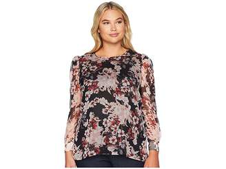 Vince Camuto Specialty Size Plus Size Puff Shoulder Long Sleeve Timeless Blooms Floral Blouse