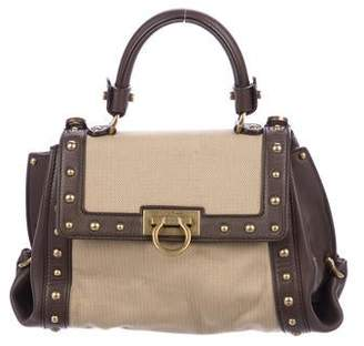 094edc4827 Salvatore Ferragamo Canvas   Leather Sofia Satchel