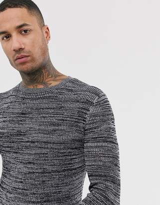Asos Design DESIGN knitted mesh jumper in silver metallic yarn