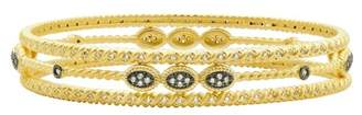 Freida Rothman 14K Yellow Gold & Black Rhodium Plated Sterling Silver Pave CZ Stacking Bangles - Set of 3