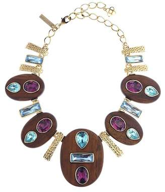 Oscar de la Renta Wooden Hammered Necklace