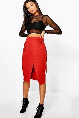 boohoo Kellie Pocket Front O Ring Belted Midi Skirt