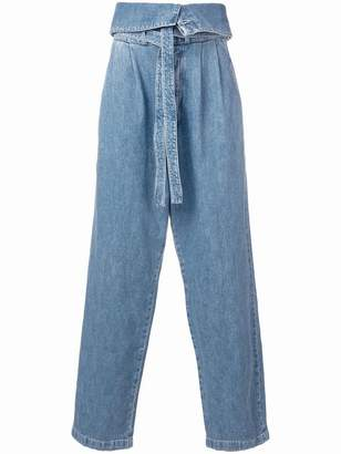 Loewe belted oversize pleated jeans