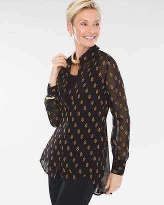Chiffon Geometric Clip-Dot Shirt