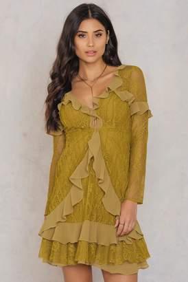For Love & Lemons Daphne Lace Mini Dress Green