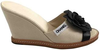 Chanel Beige Cloth Mules & Clogs