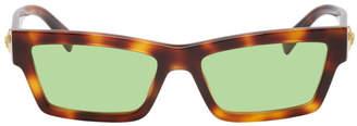 Versace Tortoiseshell Medusa Rectangular Sunglasses