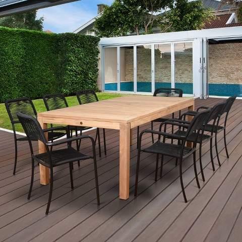 Amazonia 9pc London Rectangular Teak/Aluminum Patio Dining Set