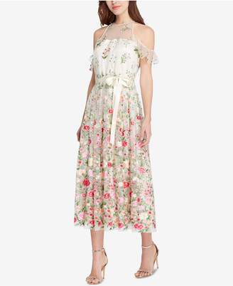 Tahari ASL Floral Embroidered Cold-Shoulder Midi Dress