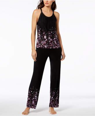 INC International Concepts Floral-Border Satin-Trim Pajama Set, Created for Macy's