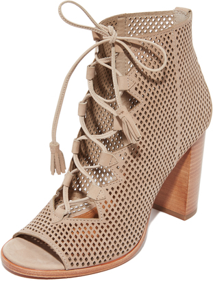 Frye Gabby Perf Ghillie Open Toe Booties $358 thestylecure.com