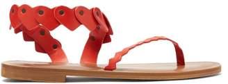 Álvaro Alvaro - Aruba Heart Strap Leather Sandals - Womens - Red