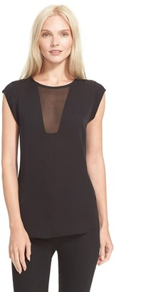 Women's Rebecca Taylor 'Charlie' Sheer Inset Silk Top $225 thestylecure.com