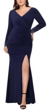 Xscape Evenings Plus Size Embellished-Sleeve Gown