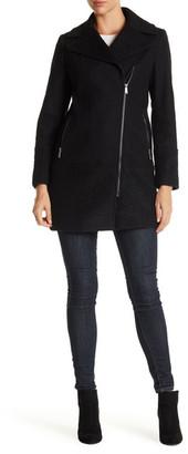 DKNY Notch Collar Asymmetric Wool Blend Coat $325 thestylecure.com