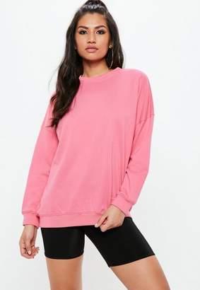 Missguided Pink Drop Shoulder Oversized Sweatshirt