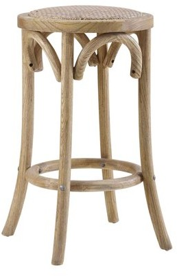 Linon Rae Rattan Counter Stool, Brown, 24 inch Seat Height, Assembled