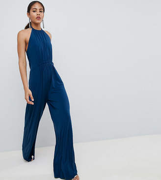 Asos Tall Design Tall Slinky Jumpsuit With Gathered Waist