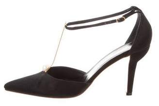Chanel Satin T-Strap Pumps