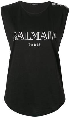 Balmain front logo tank top