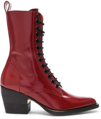 Chloé Rylee Shiny Leather Lace Up Buckle Boots