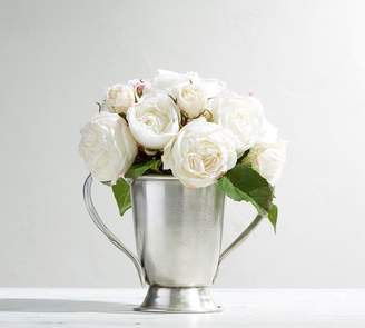Pottery Barn Faux Composed Roses in Silver Vase