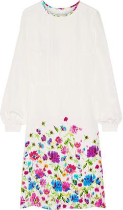 Oscar de la Renta - Pintucked Floral-print Silk-satin Dress - Ivory $2,390 thestylecure.com