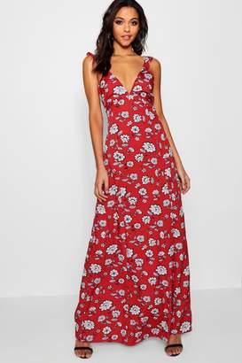 boohoo Tall Floral Ruffle Tie Back Maxi Dress