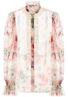 Dolce & Gabbana Floral-printed silk-blend blouse