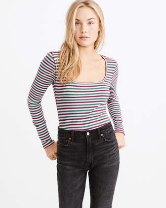 Abercrombie & Fitch Long-Sleeve Square Neck Tee