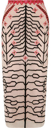 Temperley London Canopy Embroidered Tulle Pencil Skirt - Blush