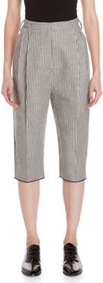 Avn Striped High-Waisted Cropped Pants