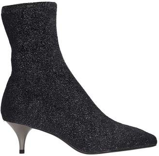 Lola Cruz Grey Glitter Fabric Ankle Boots