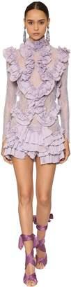 Raisa & Vanessa Pleated & Ruffled Mini Dress W/ Lace