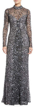 Parker Black Leandra Sequin Long-Sleeve Gown Dress