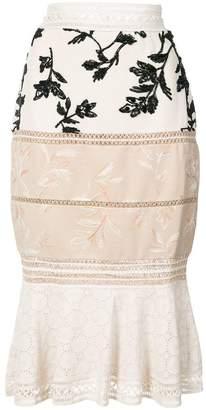 Patbo multiprint paneled peplum midi skirt
