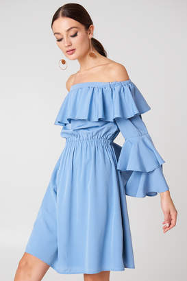 Na Kd Boho Off Shoulder Ruffle Mini Dress