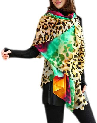 IvyFlair Elegant Multi Color Rainbow Leopard Print Chiffon Fashion Scarf Shawl Wrap