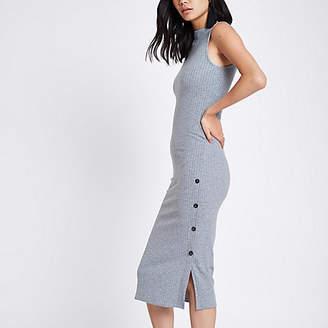 River Island Grey rib button side midi bodycon dress