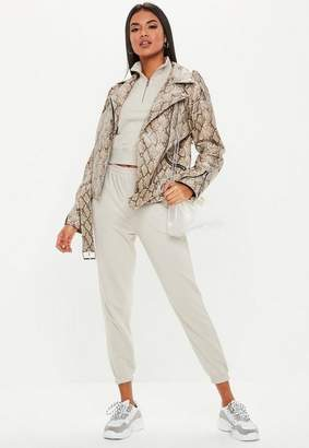 Missguided Brown Snake Print Faux Leather Biker Jacket, Brown