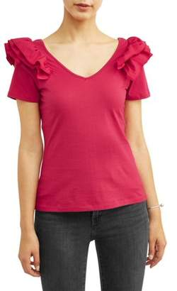 Alison Andrews Women's Short Sleeve Ruffle Shoulder T-Shirt