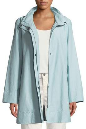 Eileen Fisher Hooded A-Line Long Outerwear Jacket, Plus Size