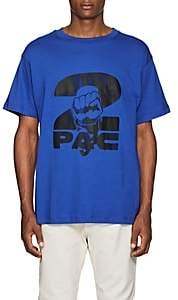 Tupac by 424 Men's Fist-Print Cotton Short-Sleeve T-Shirt-Blue