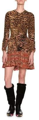 Etro Leopard & Paisley Ruched Long-Sleeve Minidress, Ivory