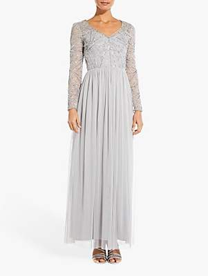 Adrianna Papell Beaded Maxi Dress, Bridal Silver
