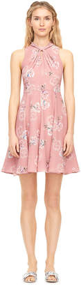 Rebecca Taylor Faded Floral Silk Knot Neck Dress