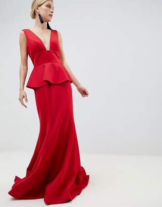 Jovani Peplum Maxi Dress