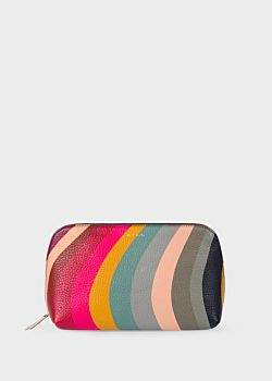 Women's Swirl Print Leather Make-Up Pouch