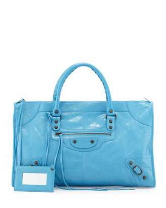 Balenciaga Classic Work Lambskin Tote Bag, Blue $2,050 thestylecure.com