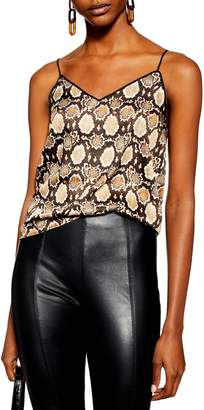 Topshop Snake Print Piped Camisole
